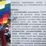 La primera sentencia oficial en Aymara