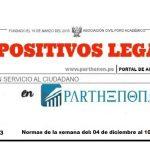 Dispositivos Legales del 04 de diciembre al 10 de diciembre