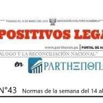 Dispositivos Legales del 14 al 20 de mayo